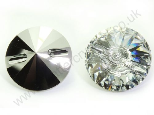 Factory Pack (8pc) Swarovski Crystal Rivoli Buttons, Style 3015, 27mm, Clear Crystal